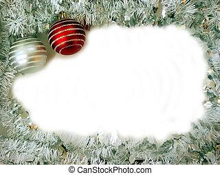 Christmas Border 2 - Christmas border with two glass ball...