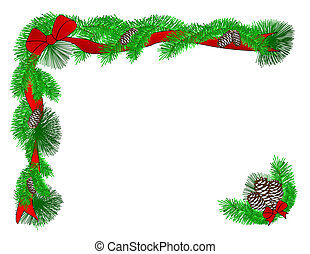 A Christmas border of red ribbons, evergreen boughs, and pinecones