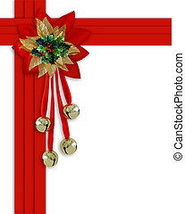 Image and illustration composition Christmas border design with holly leaves, jingle bells and red velvet ribbons frame for holiday greeting card, invitation or background. Image and illustration composition with copy space