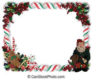 Christmas Border candy and Elf