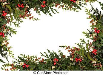 Christmas Border - Christmas traditional border of holly,...