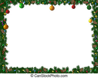 Christmas Border - holiday border of spruce, ornaments and...