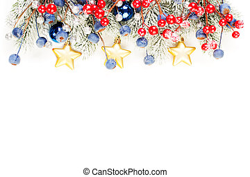 Christmas border composition. Colorful winter border with green Xmas tree twig, red holly berries and gold decoration isolated on white background
