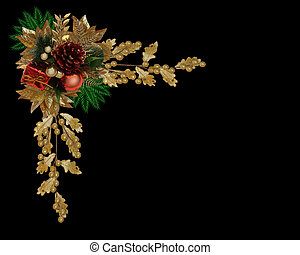 Christmas border elegant pine cone