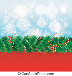 Christmas Border with Fir Branches and Candy, vector...