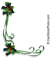 Image and Illustration composition for Christmas holiday background, border, invitation or frame with green ribbons, holly and copy space.