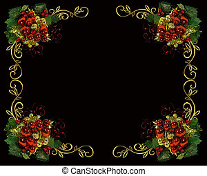 Christmas border frame on black - Image and illustration...