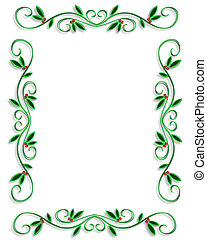 Christmas Border Frame simple - Illustrated Background,...