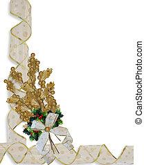 Christmas Border Gold Leaves ribbon