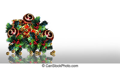 Christmas border holly and ornament - Image and illustration...