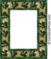 Christmas Border Holly and ribbon elegant - Image and...
