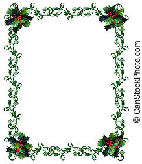 Christmas border Holly - Image and illustration composition...