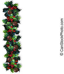 Image and illustration composition. Christmas design with holly leaves and ornaments for greeting card, invitation, border or background.