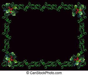 Christmas border Holly on black