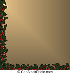 Christmas Border - Holly on Gold