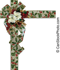 Christmas Border holly ribbons and flowers