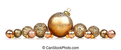 Christmas border of gold decorations isolated on white
