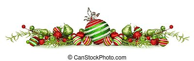 Christmas border of red, green and white ornaments isolated...