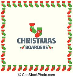 Christmas border of socks vector
