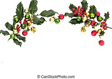 Christmas border on a white background