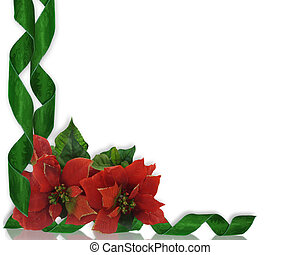 Christmas border Poinsettias and ri - Christmas design with...