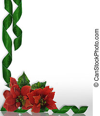 Christmas border Poinsettias - Christmas design with red...
