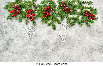 Christmas border red berries silver ornaments decoration