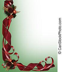 Christmas border red ribbons