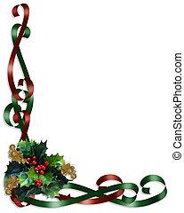 Christmas Border Ribbons and Holly - Christmas design holly...