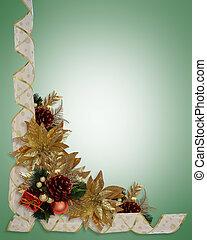 Christmas border ribbons elegant gold poinsettias