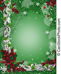 Christmas border ribbons elegant holly