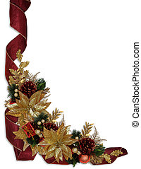 Christmas border ribbons gold poinsettias - Image and...