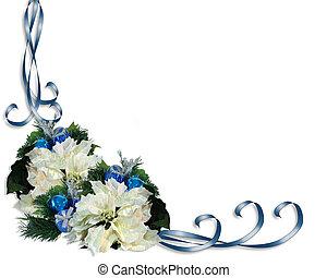 Christmas Border Ribbons Poinsettia