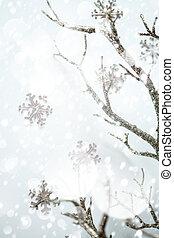 Christmas border, silver branch and metallic snowflakes