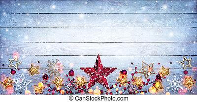 Christmas Border - Stars Decorations On Snowy Plank