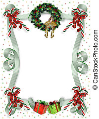 Image and illustration composition for Christmas card background, party invitation, template, Border or frame with candy canes, wreath, ribbons, presents, holly and copy space.