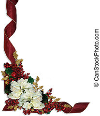 Christmas Border White Poinsettias - Illustration and image...