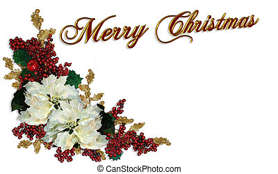 Christmas Border White Poinsettias - Illustration and image...