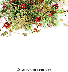 Christmas Border with Baubles and Snowflakes