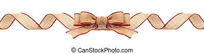 Christmas border with burlap ribbon with red trim isolated -...