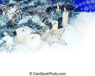 Christmas Border with Candles
