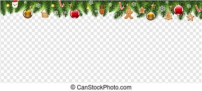 Christmas Border With Christmas Toys Transparent background
