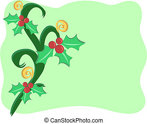 Christmas Border with Decorations of Holly and Spirals