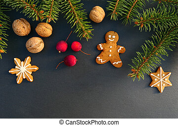 Christmas border with gingerbread man cookie.