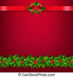 Christmas Border With Holly Berry Red Background