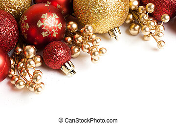 Christmas border with red ornament