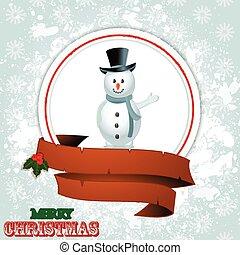 Christmas border with snowman