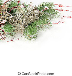 Christmas Border with Stars under Snow