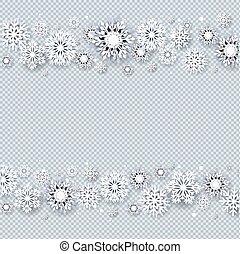 Christmas Border With White Snowflakes Transparent background