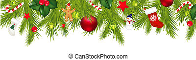 Christmas Border With Xmas Garland Isolated On White...